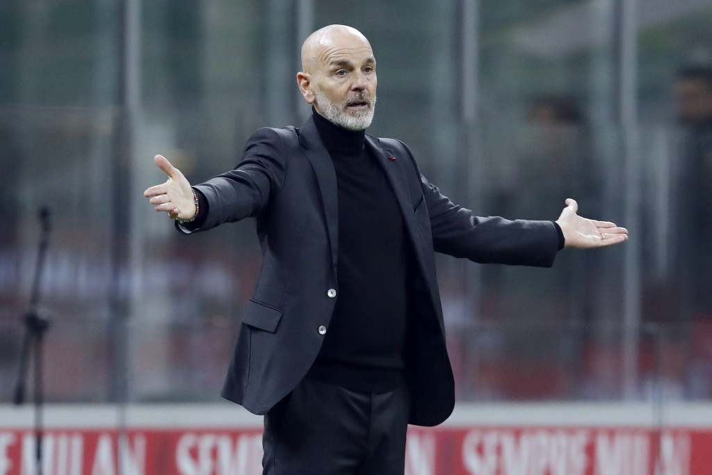 AC Milan coach Stefano Pioli reacts on the sideline during the Serie A soccer match between AC Milan and Udinese at the San Siro stadium, in Milan, It...