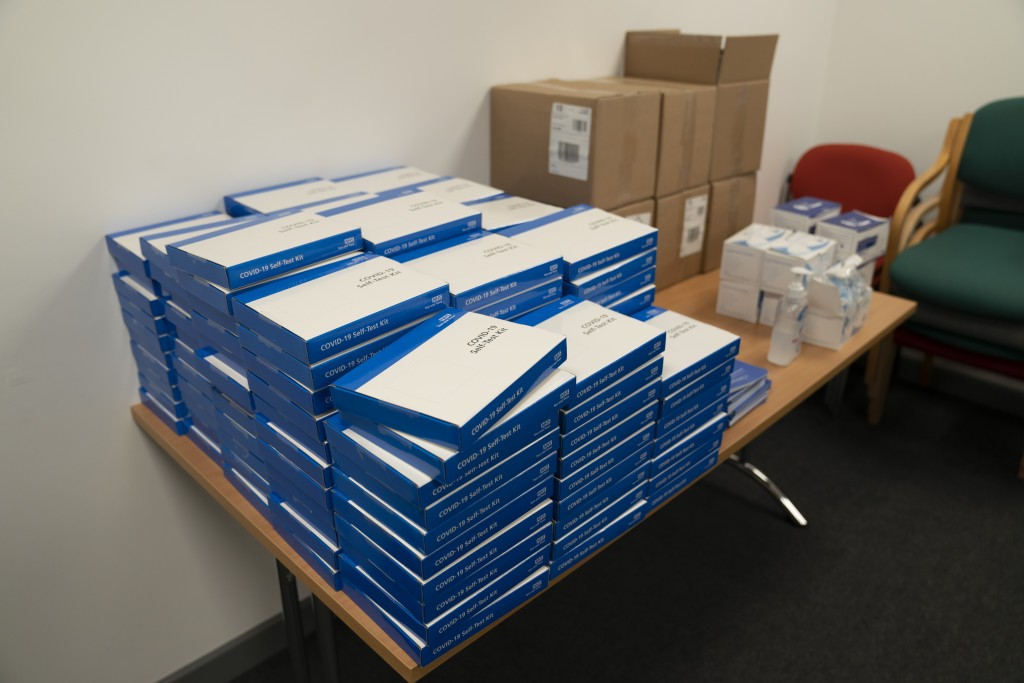 COVID-19 self-test kits, at Great Academy Ashton, as the school prepares for its reopening on March 8 after the latest lockdown curb the spread of cor...