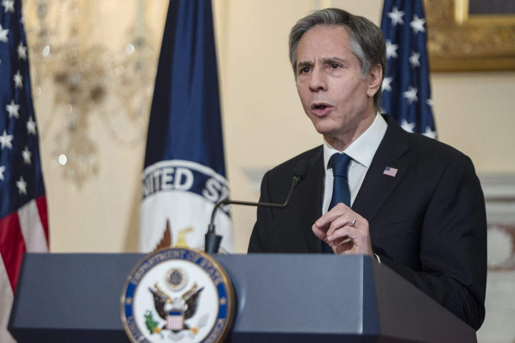 Secretary of State Antony Blinken speaks on foreign policy at the State Department, Wednesday, March 3, 2021 in Washington.  (Andrew Caballero-Reynold...