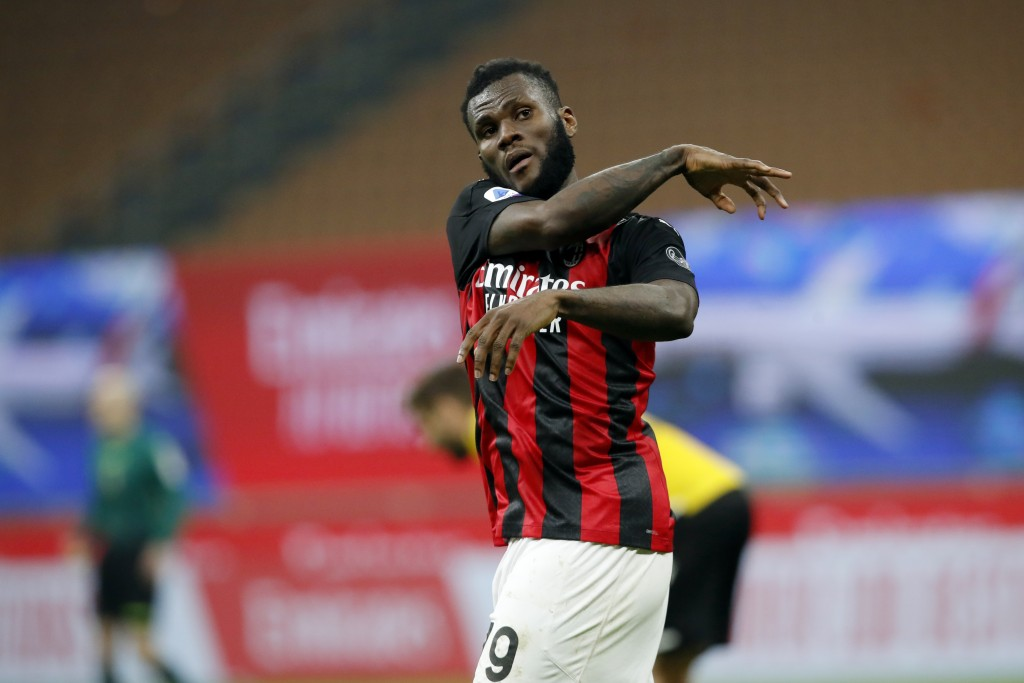 AC Milan midfielder Franck Kessie (79) reacts after scoring from the penalty spot during the Serie A soccer match between AC Milan and Udinese at the ...