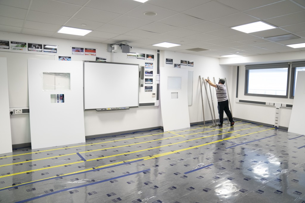 A Covid testing area is constructed at Great Academy Ashton, as the school prepares for its reopening on March 8 after the latest lockdown curb the sp...