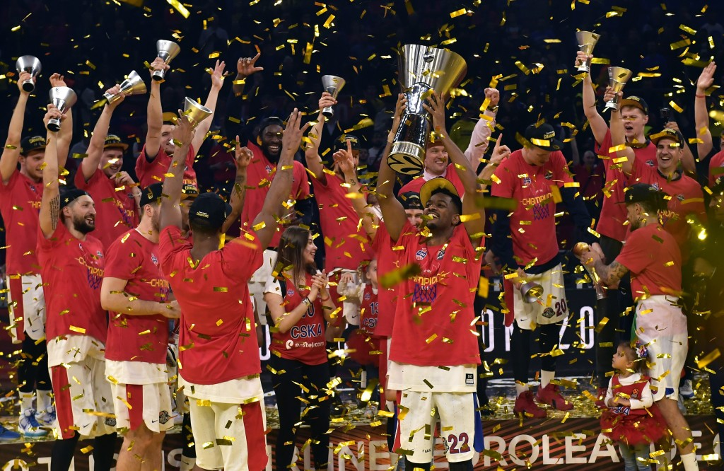 FILE - In this Sunday, May 19, 2019. file photo, Moscow players celebrate as they win the Final Four Euroleague final basketball match between Anadolu...