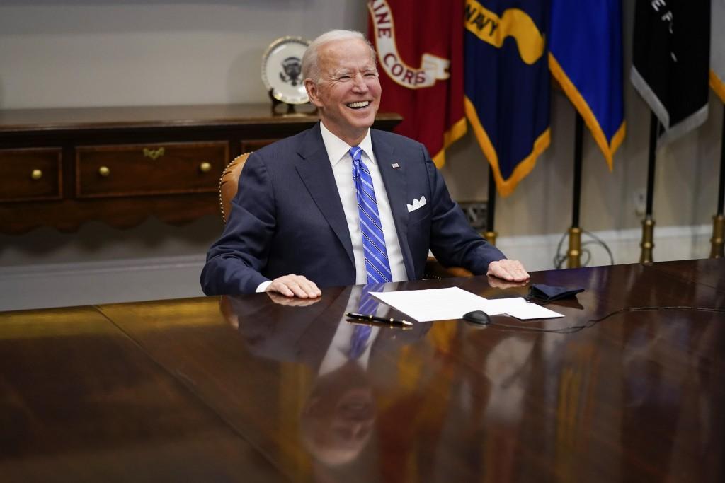 President Joe Biden congratulates NASA's Jet Propulsion Laboratory Mars 2020 Perseverance team for successfully landing on Mars during a virtual call ...