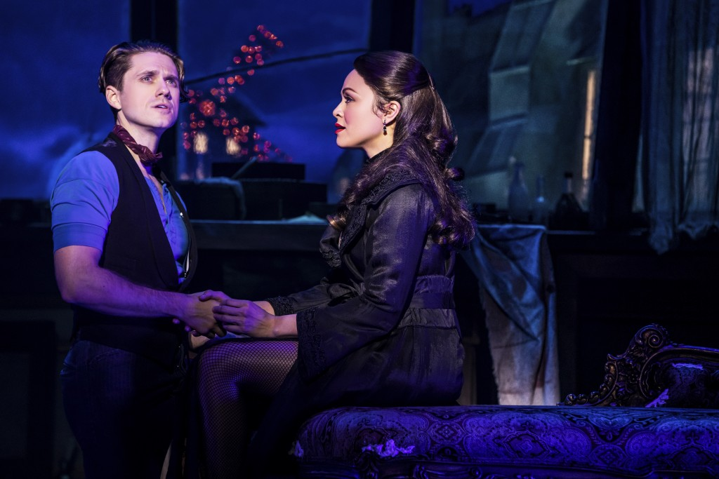 """Aaron Tveit, left, appears with Karen Olivo during a performance of """"Moulin Rouge! The Musical,"""" in New York. Tveit was the only actor nominated for a..."""