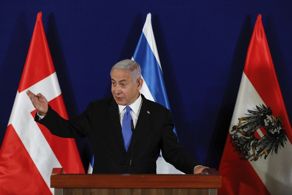 Israeli Prime Minister Benjamin Netanyahu speaks during a joint statement with the Danish Prime Minister Mette Frederiksen and Austrian Chancellor Seb...