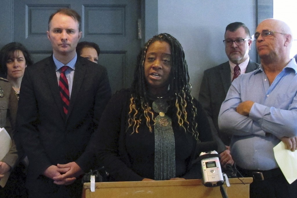 FILE - In this Jan. 14, 2019, file photo, Kiah Morris speaks at a news conference in Bennington, Vt., about the attorney general's investigation into ...