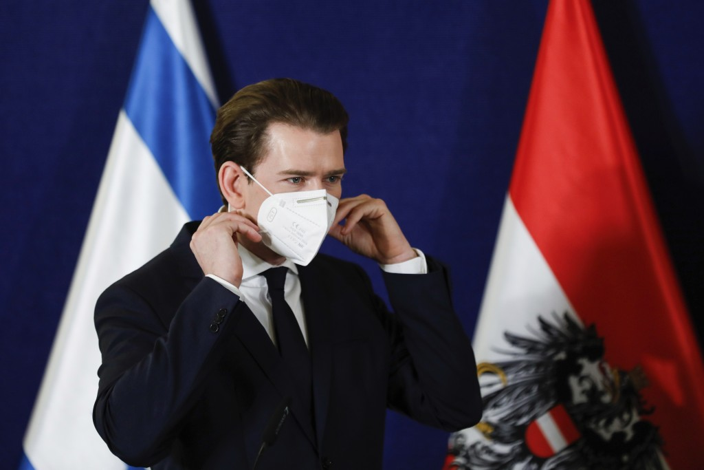 Austrian Chancellor Sebastian Kurz attends a joint statement with the Israeli Prime Minister Benjamin Netanyahu and the Danish Prime Minister Mette Fr...