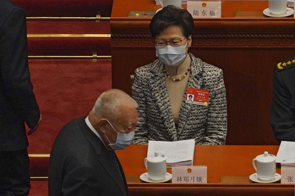 香港特首林鄭月娥5日發布聲明指出,特區政府將會全面配合中央修改選制,以實踐「愛國者治港」的原則。(美聯社圖片)