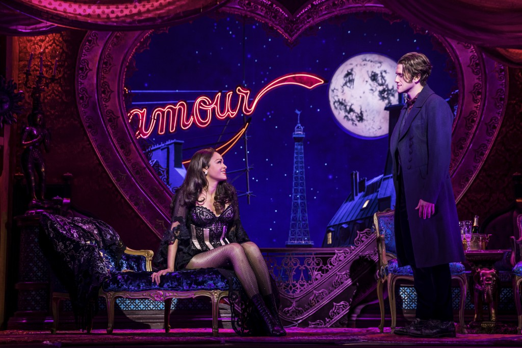 """Aaron Tveit, right, appears with Karen Olivo during a performance of """"Moulin Rouge! The Musical,"""" in New York. Tveit was the only actor nominated for ..."""