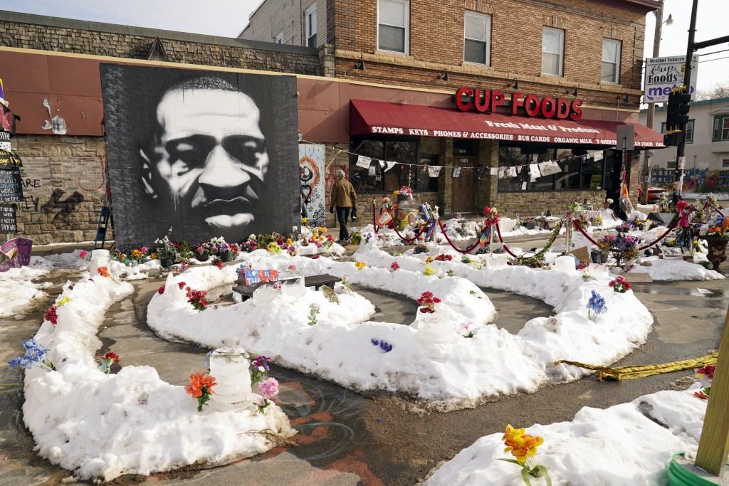 George Floyd Square is shown on Feb. 8, 2021, in Minneapolis. Ten months after police officers brushed off George Floyd's moans for help on the street...