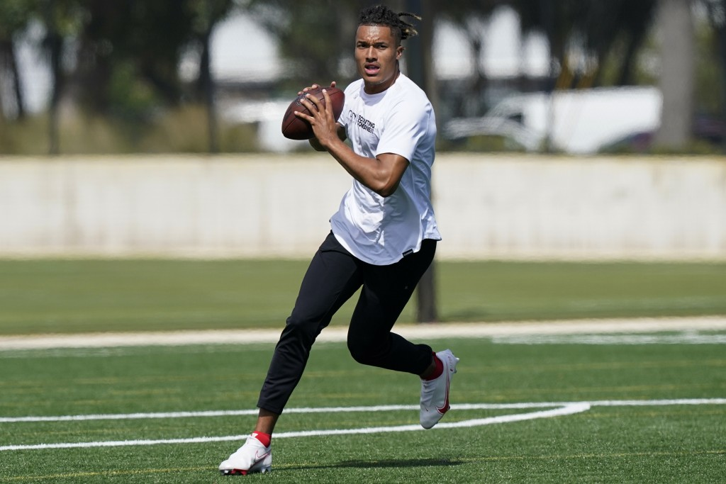 Texas A&M quarterback Kellen Mond gets ready to pass the ball during an NFL football mini combine organized by House of Athlete, Friday, March 5, 2021...