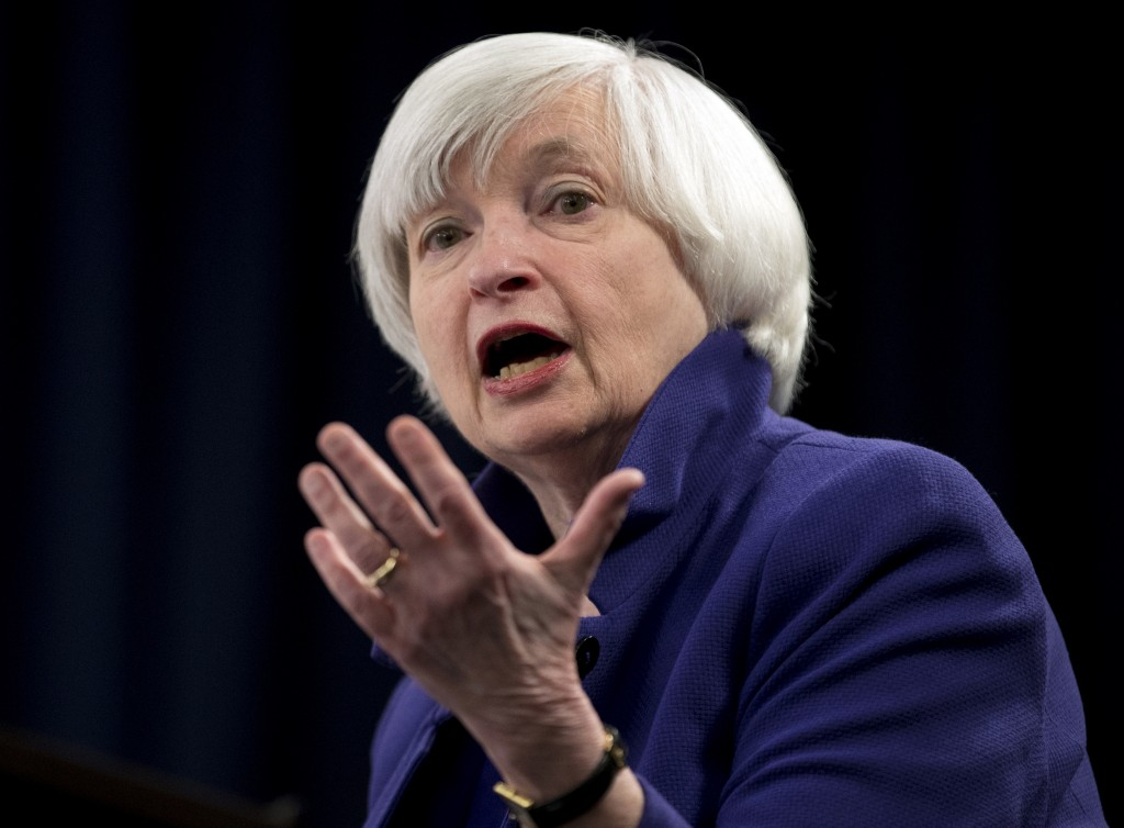 FILE - This Dec. 13, 2017, file photo shows Federal Reserve Chair Janet Yellen speaking during a news conference following the Federal Open Market Com...