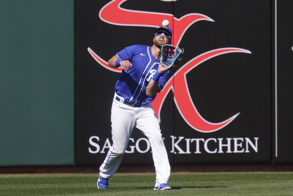 Kansas City Royals left fielder Bubba Starling catches a fly ball hit by Los Angeles Dodgers' Chris Taylor during the fourth inning a spring training ...