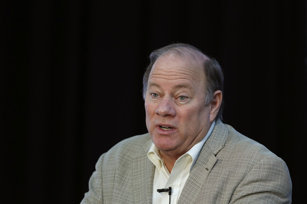 FILE - In this April 23, 2020, file photo, Detroit Mayor Mike Duggan speaks in Detroit. Mayor Duggan this week turned down 6,200 doses of the newly au...