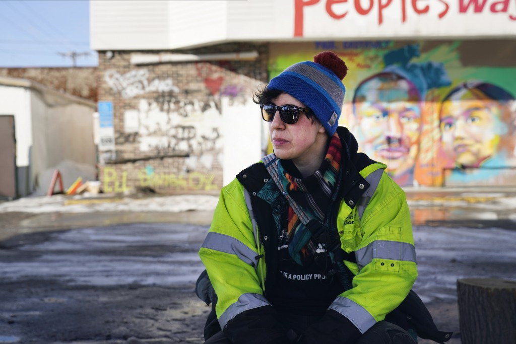 Madi Ramirez-Tentinger, a lead organizer for activism, waits to be interviewed on Feb. 24, 2021, at George Floyd Square in Minneapolis. Ten months aft...