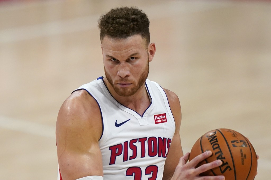 FILE - Detroit Pistons forward Blake Griffin plays during overtime of of an NBA basketball game in Detroit, in this Friday, Jan. 8, 2021, file photo. ...