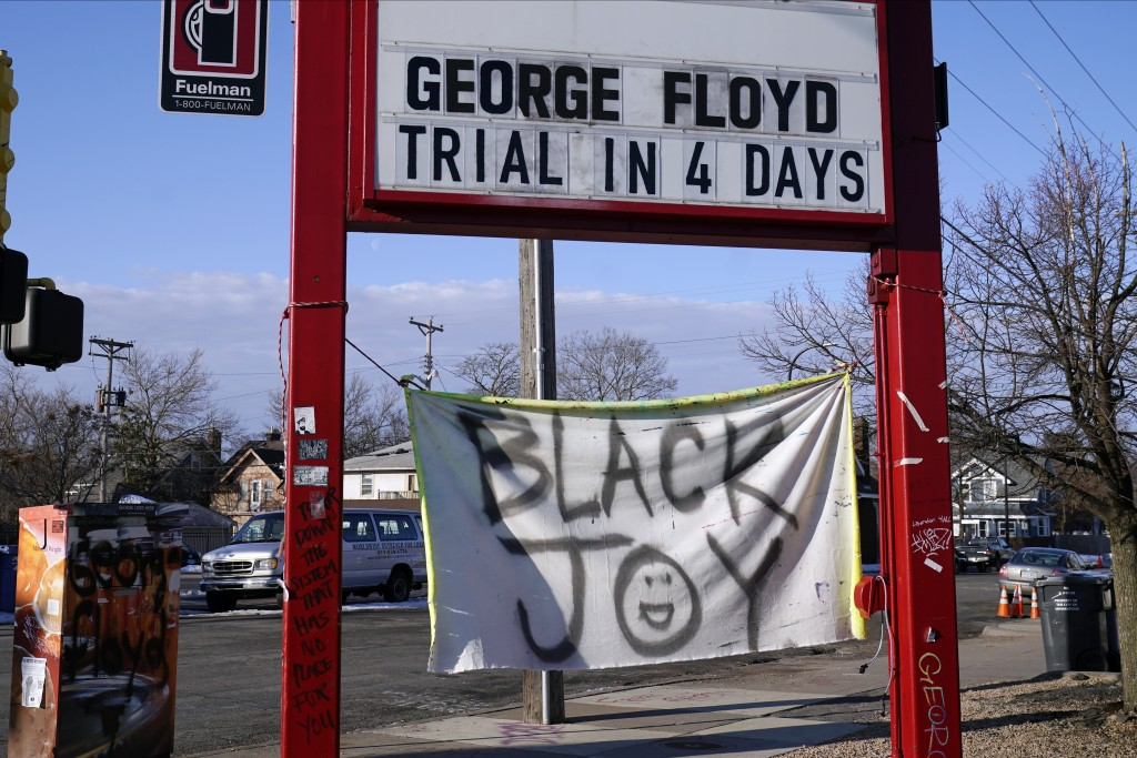 A trial countdown sign marks the days at George Floyd Square, March 4, 2021, in Minneapolis. Ten months after police officers brushed off George Floyd...