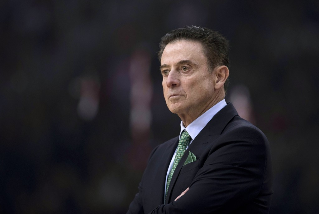 FILE - In this Jan. 4, 2019, file photo Panathinaikos coach Rick Pitino looks on during a Euroleague basketball match between Panathinaikos and Olympi...