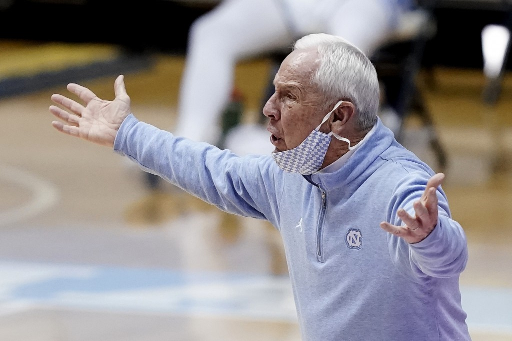 North Carolina coach Roy Williams reacts during the second half of the team's NCAA college basketball game against Duke in Chapel Hill, N.C., Saturday...
