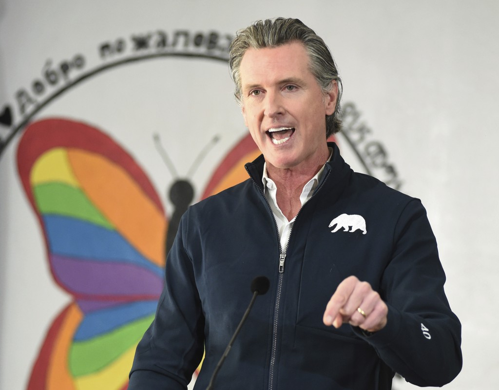 FILE - In this Feb. 26, 2021 file photo California Gov. Gavin Newsom speaks during a press conference after visiting a COVID-19 vaccination clinic for...