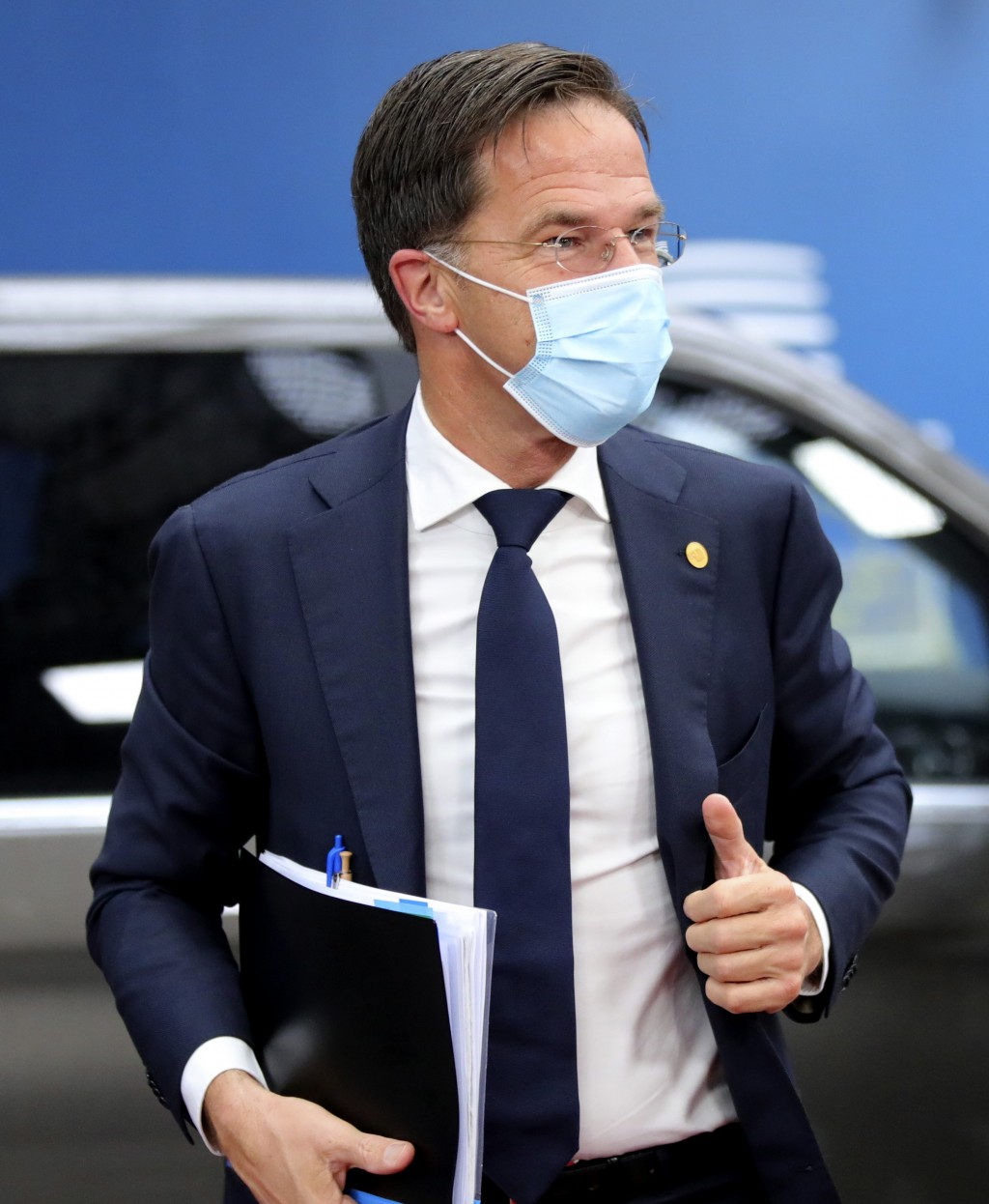 FILE - In this file photo dated Friday, Oct. 2, 2020, Dutch Prime Minister Mark Rutte arrives for an EU summit at the European Council building in Bru...