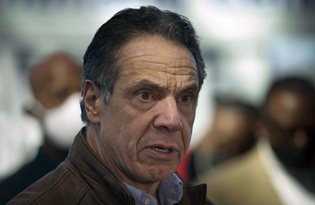 FILE - This Monday, March 8, 2021, file photo shows New York Gov. Andrew Cuomo speaking at a vaccination site in New York. A lawyer for Gov. Andrew Cu...