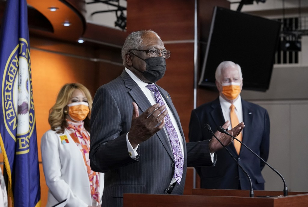 House Majority Whip James Clyburn, D-S.C., flanked by Rep. Lucy McBath, D-Ga., left, and Rep. Mike Thompson, D-Calif., chairman of the House Gun Viole...