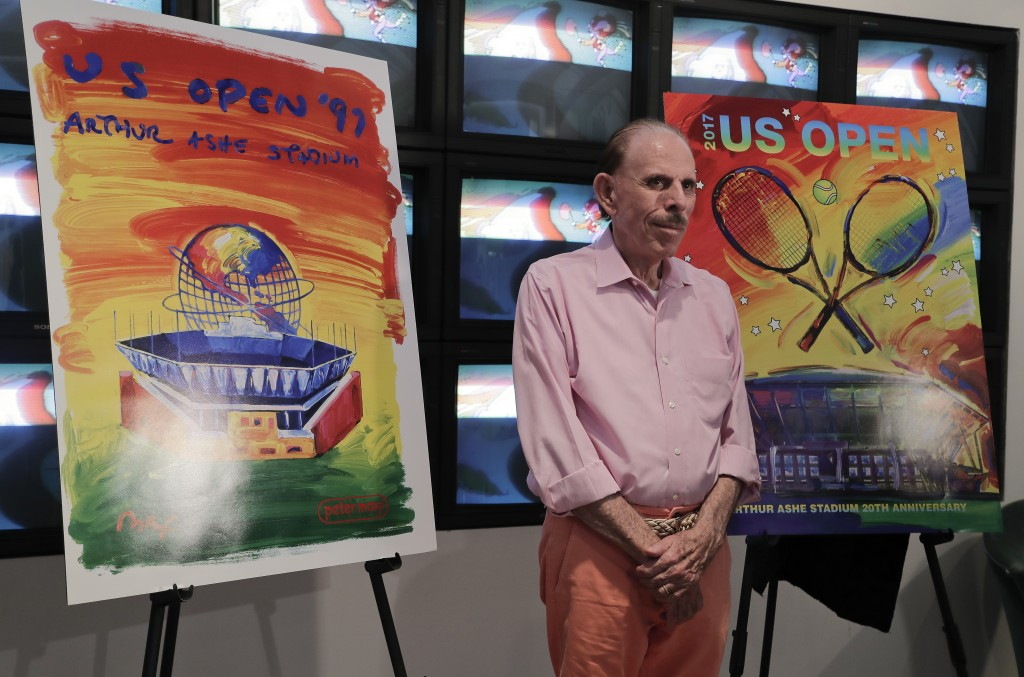 FILE - In this Wednesday June 14, 2017, file photo is artist Peter Max at the unveiling of art he created for the 2017 U.S. Open tennis tournament in ...