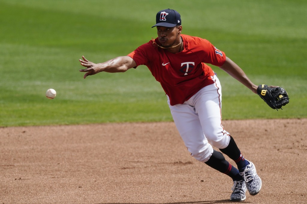 Minnesota Twins shortstop Jorge Polanco (11) practices before a spring training baseball game against the Boston Red Sox Thursday, March 11, 2021, in ...