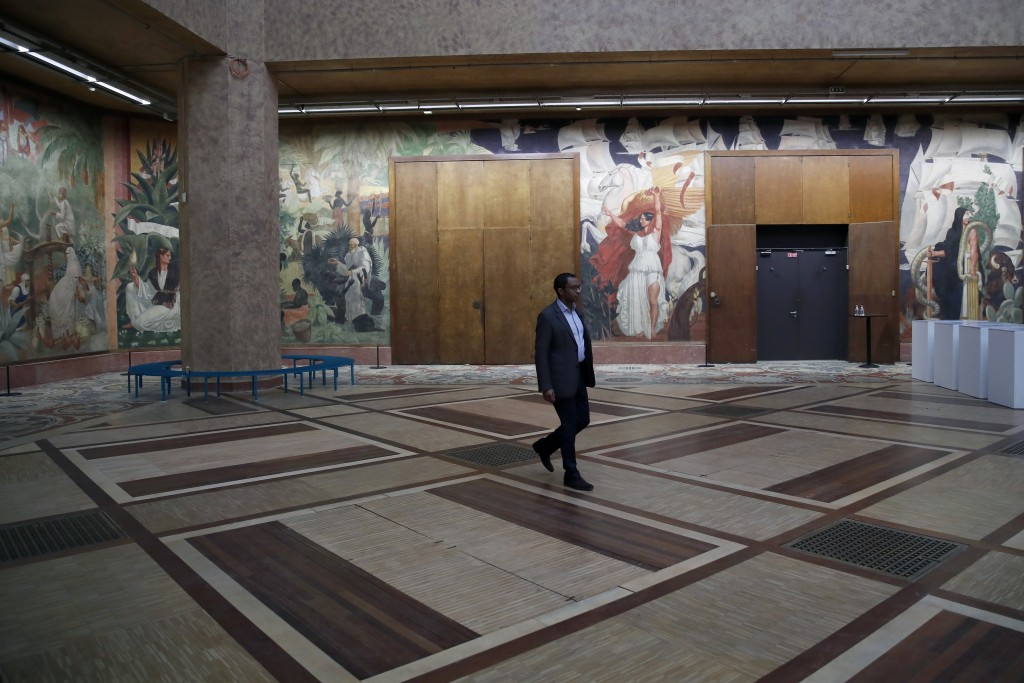 Pap Ndiaye, a Black French scholar and expert on the U.S. civil rights movement poses for a photo inside France's National Museum of the History of Im...