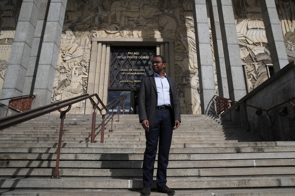 Pap Ndiaye, a Black French scholar and expert on the U.S. civil rights movement poses for a photo outside France's National Museum of the History of I...