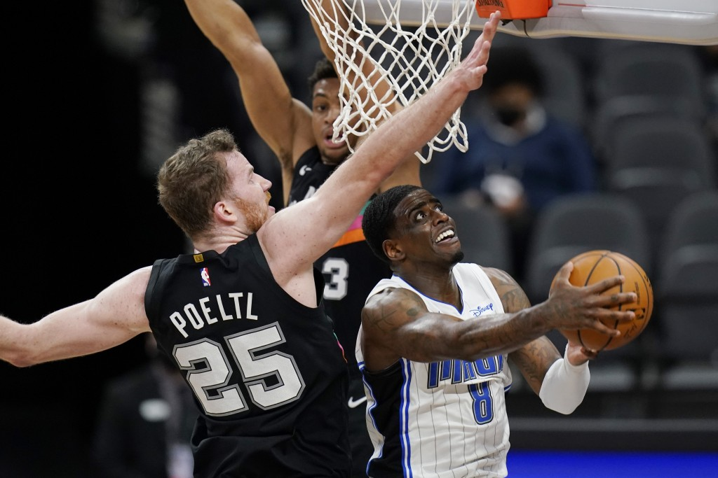 Orlando Magic forward Dwayne Bacon (8) drives to the basket past San Antonio Spurs center Jakob Poeltl (25) during the second half of an NBA basketbal...