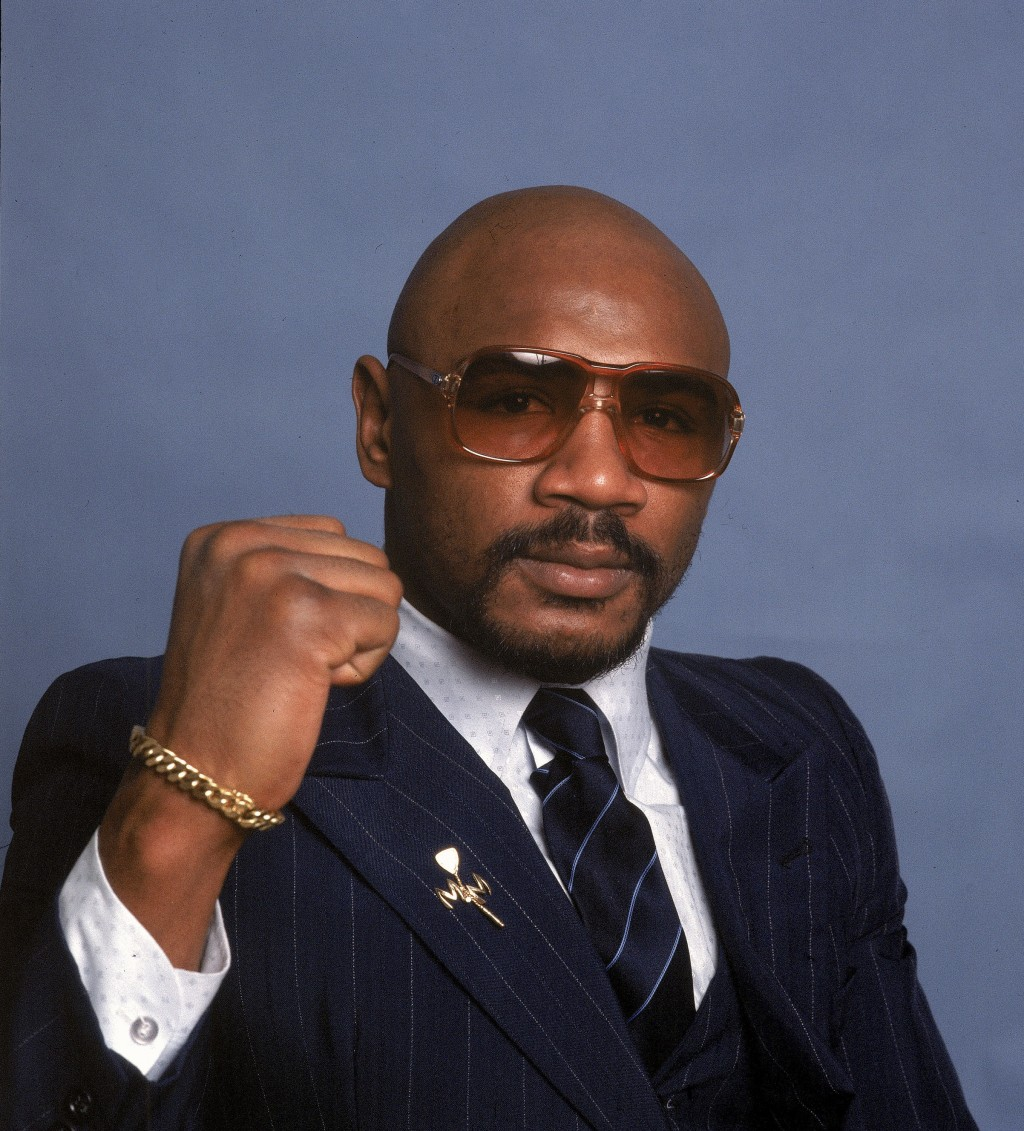 FILE - In this 1982 file photo, boxer Marvin Hagler poses for a photo. Hagler, the middleweight boxing great whose title reign and career ended with a...