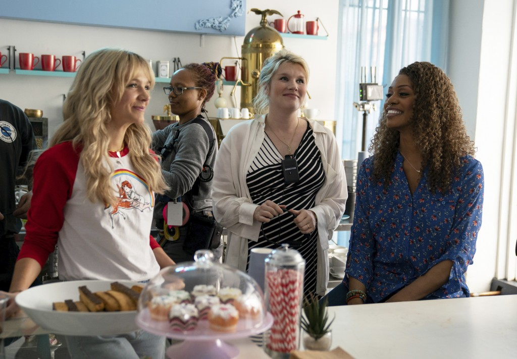 """This image released by Focus Features shows Carey Mulligan, left, Emerald Fennell and Laverne Cox on the set of """"Promising Young Woman."""" (Focus Featur..."""