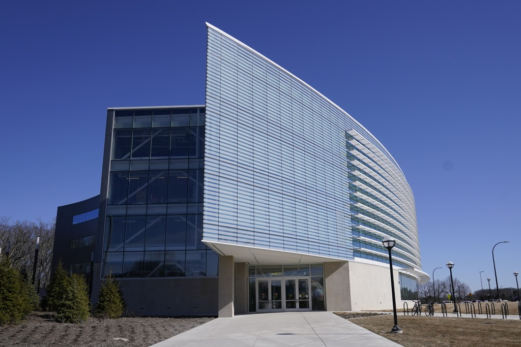 Exterior of the University of Michigan's Ford Motor Co. Robotics Building is seen, March 12, 2021 in Ann Arbor, Mich. The four-story, $75 million, 134...