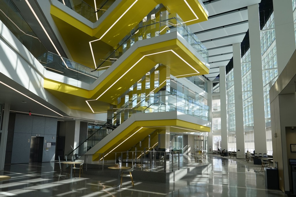Interior of the University of Michigan's Ford Motor Co. Robotics Building is seen, March 12, 2021 in Ann Arbor, Mich. The four-story, $75 million, 134...