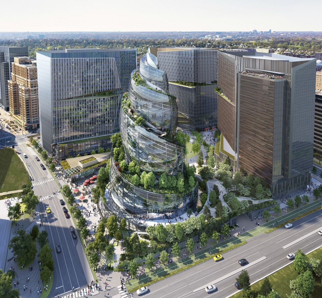 FILE - This artist rendering provided by Amazon shows the next phase of the company's headquarters redevelopment to be built in Arlington, Va. The pla...