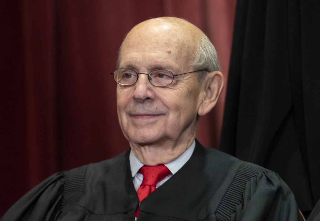 FILE - In this Nov. 30, 2018, file photo, Associate Justice Stephen Breyer sits with fellow Supreme Court justices for a group portrait at the Supreme...