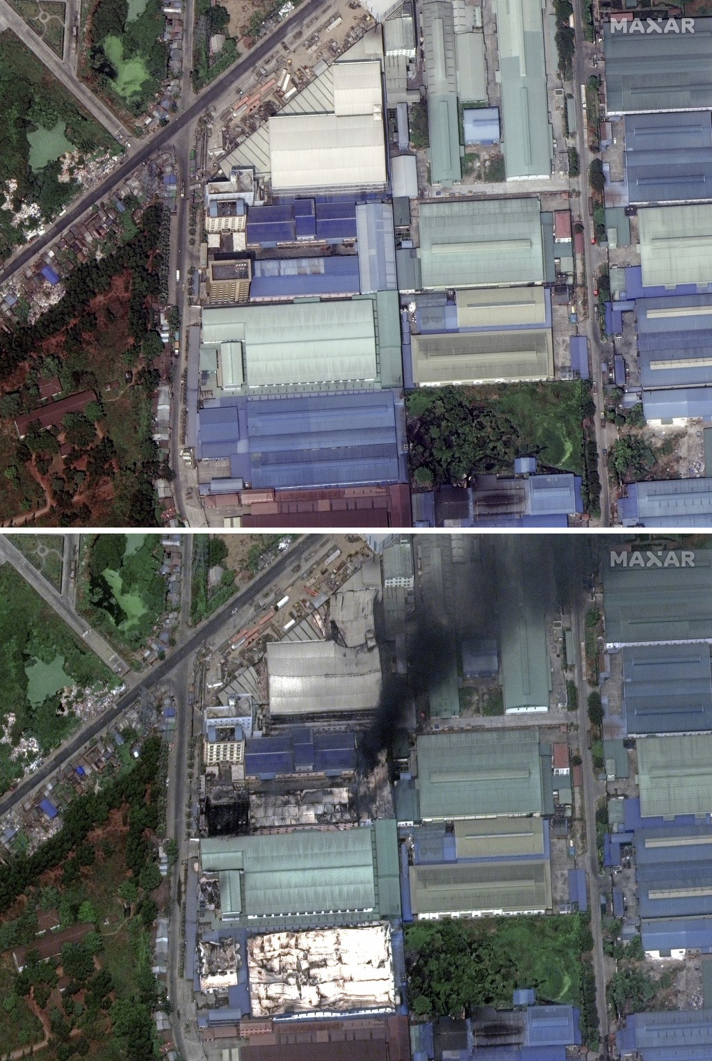 This combination image of March 9, 2021, top, and March 15, 2021, satellite images provided Maxar Technologies shows Global Fashion Garment Factory, a...