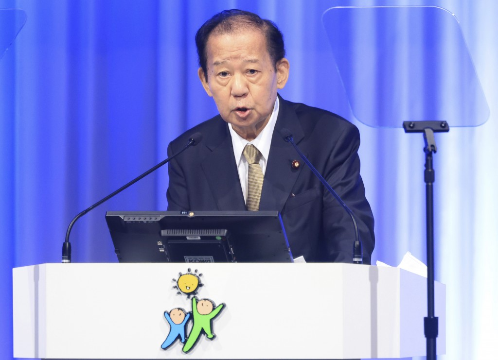 Japanese ruling Liberal Democratic Party (LDP) secretary general Toshihiro Nikai  delivers a speech at the annual party convention amid outbreak of th...