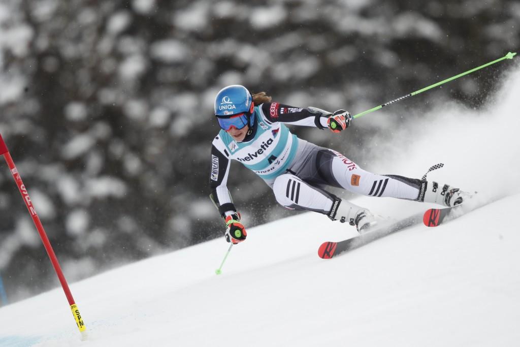 Slovakia's Petra Vlhova speeds down the course during an alpine ski, women's World Cup giant slalom, in Lenzerheide, Switzerland, Sunday, March 21, 20...