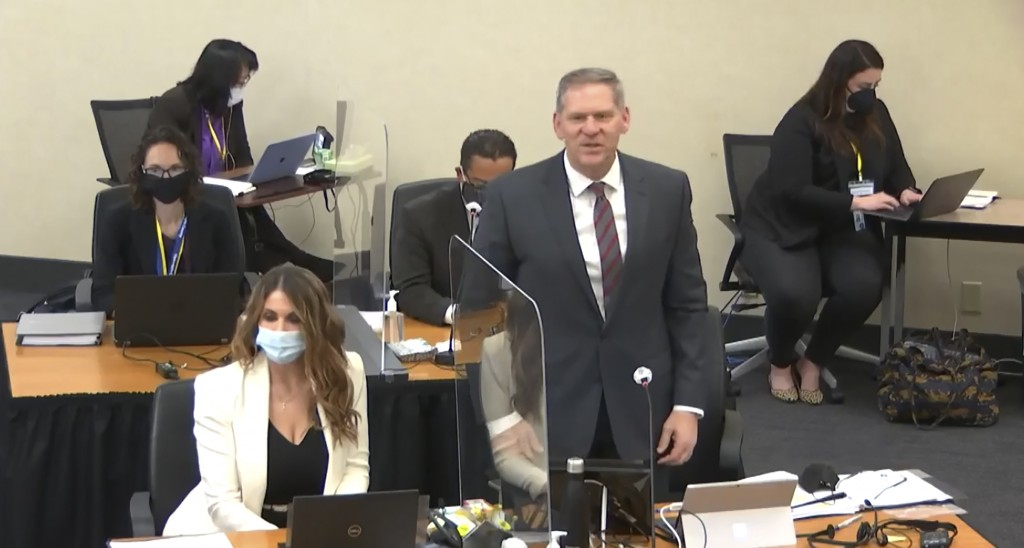 In this image taken from video, prosecutor Steve Schleicher introduces himself to potential jurors as Hennepin County Judge PeterCahill presides over...
