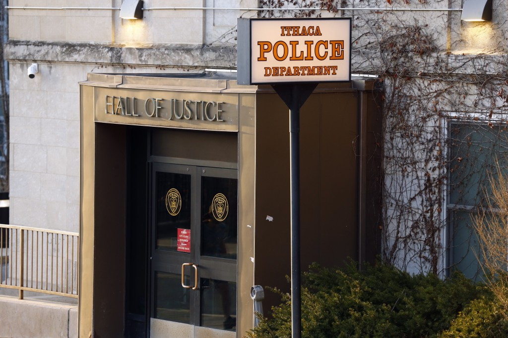 This Monday, March 22, 2021 photo shows the Ithaca Police Department headquarters in Ithaca, N.Y.   The nationwide reexamination of policing after the...