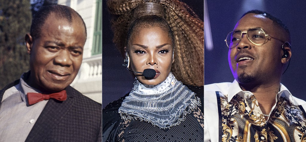 Jazz musician Louis Armstrong appears in Rome in 1968, from left,  Janet Jackson performs at the Essence Festival in New Orleans on July 8, 2018, and ...