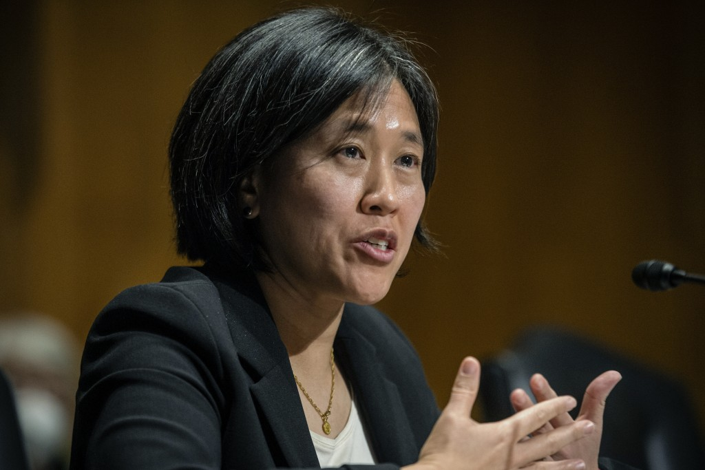 FILE - In this Feb. 25, 2021, file photo, Katherine Tai, then the nominee for U.S. trade representative, speaks during a Senate Finance Committee hear...