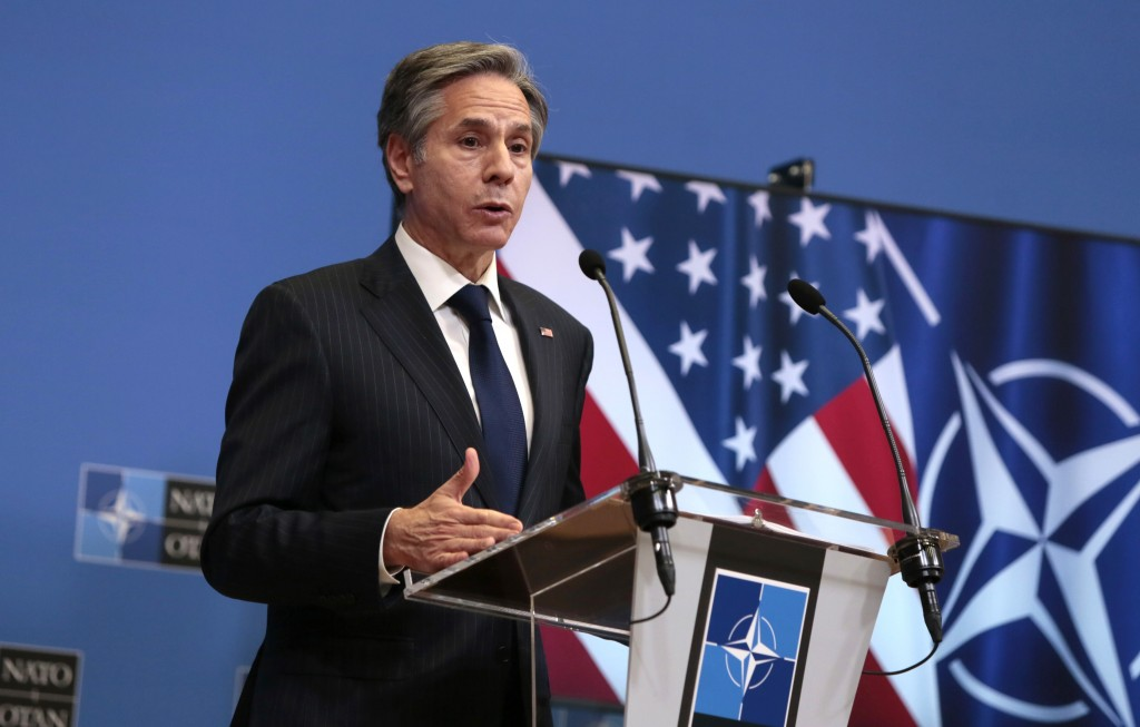 U.S. Secretary of State Antony Blinken speaks during media conference aftermeeting of NATO foreign ministers at NATO headquarters in Brussels.