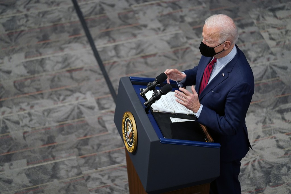 President Joe Biden speaks after a tour of the James Cancer Hospital and Solove Research Institute at The Ohio State University, Tuesday, March 23, 20...