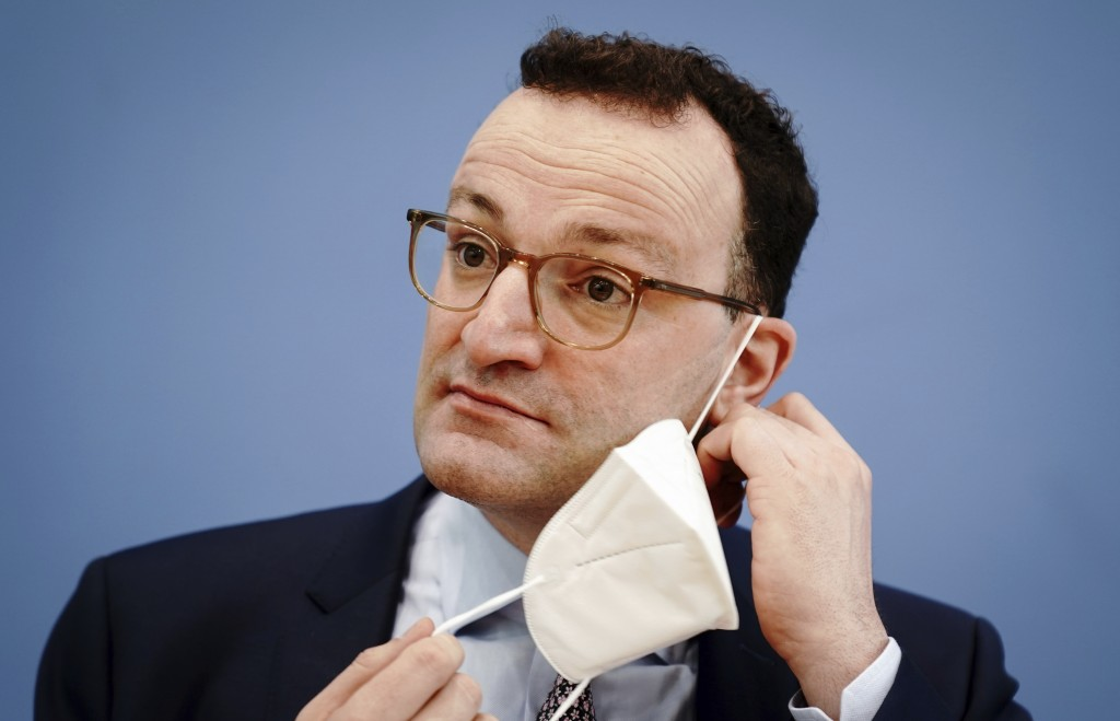 Jens Spahn, Federal Minister of Health, arrives for a press conference on the Corona situation before Easter in Berlin, Germany, Friday, March 26, 202...