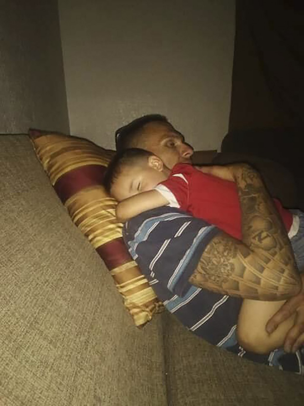This 2021 photo provided by Leony Calzada shows her boyfriend Jesten Mata holding her son Jayden in Grants, New Mexico. Mata was one of four people wh...