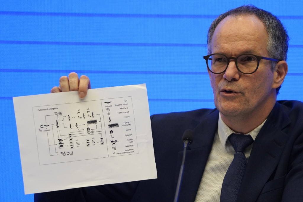 FILE - In this Feb. 9, 2021, file photo, Peter Ben Embarek of the World Health Organization team holds up a chart showing pathways of transmission of ...